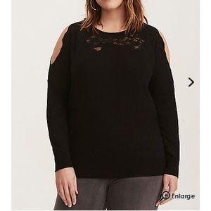 NWT Torrid 4X Lace Trim Cold Shoulder Sweater